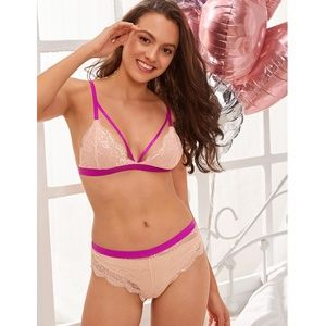 Strappy 2 Piece Pink Contrast Lingerie Set